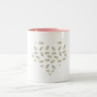 feather hearts watercolour design Two-Tone mug