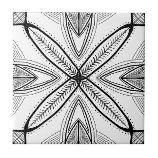 Feather Mandala Design with Transparent Background Tile