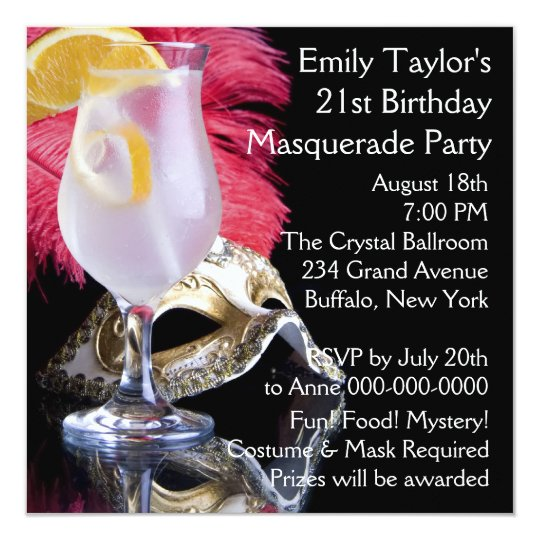 Feather Mask 21st Birthday Party Card