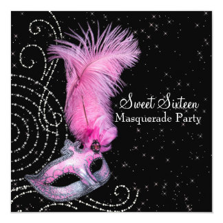 Feather Mask Pink Black Sweet 16 Masquerade Party Card