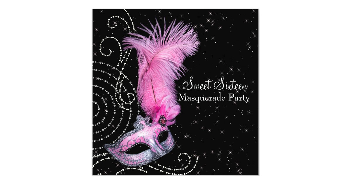 Feather Mask Pink Black Sweet 16 Masquerade Party Invitation