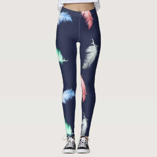 Feather Pattern (customizable background color) Leggings