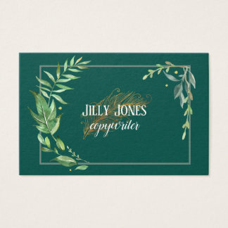 Feather Pen Foliage Frame Business Card