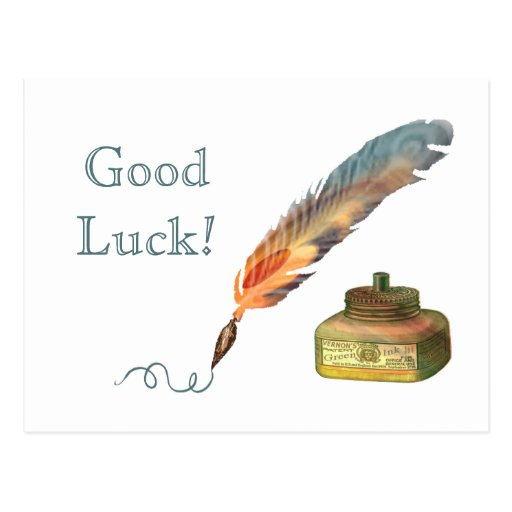 Feather Pen Good Luck Post Card