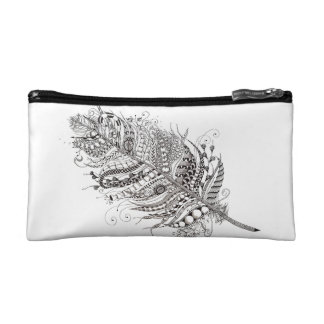 Feather pouch cosmetic bag