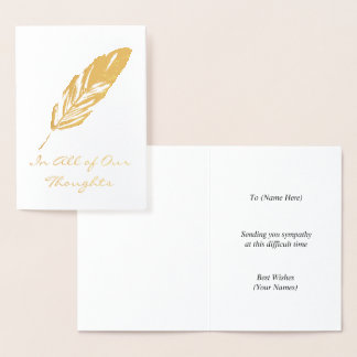 Feather Quill Motif - All Our Thoughts or Own Text Foil Card