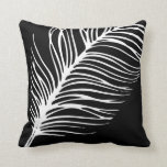Feather Silhouette Black and White Cushion