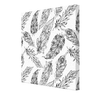 Feather Swirl Doodle 6 Canvas Print