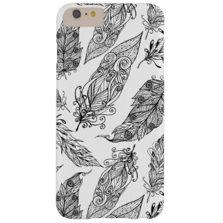 Feather Swirl Doodle Barely There iPhone 6 Plus Case