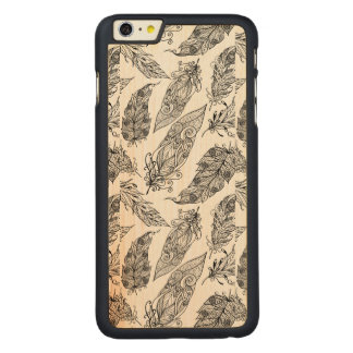 Feather Swirl Doodle Carved® Maple iPhone 6 Plus Case