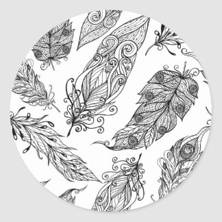 Feather Swirl Doodle Classic Round Sticker