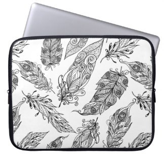 Feather Swirl Doodle Laptop Sleeve