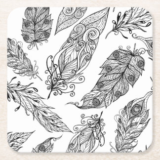 Feather Swirl Doodle Square Paper Coaster