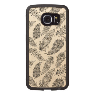 Feather Swirl Doodle Wood Phone Case