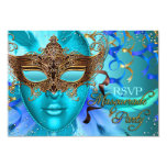 Feather Teal Gold Mask Masquerade Party RSVP 9 Cm X 13 Cm Invitation Card