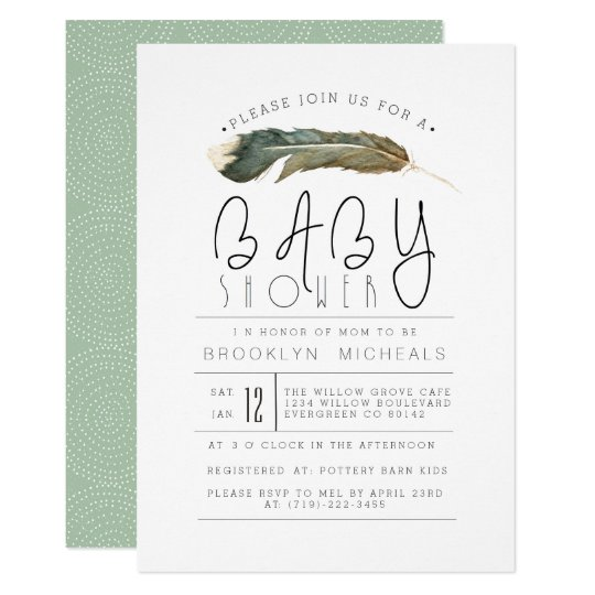 Feather Watercolor Baby Shower Card