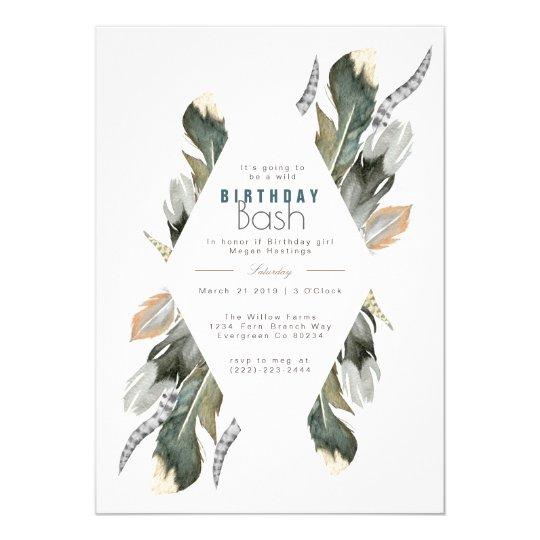 Feather Watercolor | Boho Birthday Invite