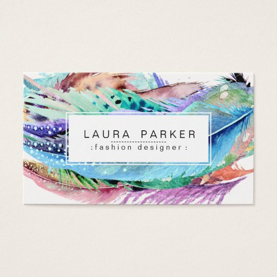 Feather Watercolor Boho Vintage Girly Chic Business Card