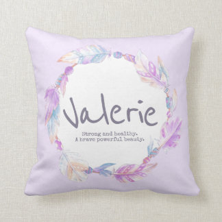 Feather watercolor name meaning valerie pillow