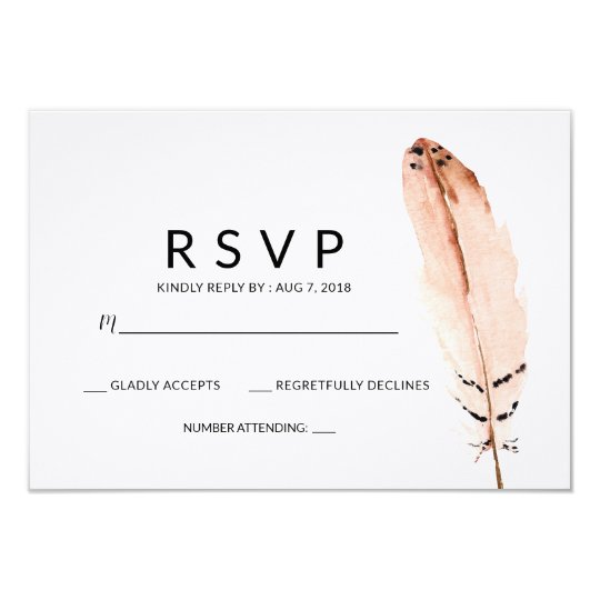 Feather Watercolor RSVP Card