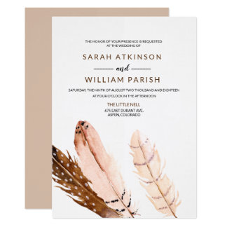 Feather Watercolor Wedding Invitation