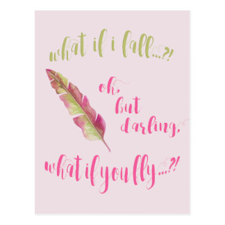 Feather - What if I fall? - Inspirational postcard