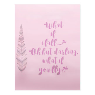 Feather - What if I fall? Inspirational Postcard