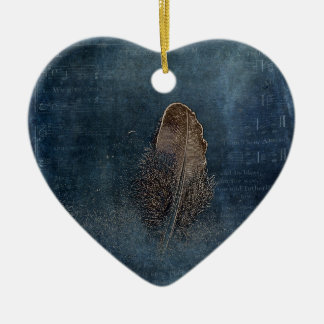 Feather with Meaning Ceramic Heart Decoration