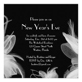 Feathered 1920 s New Year s Party Invitation