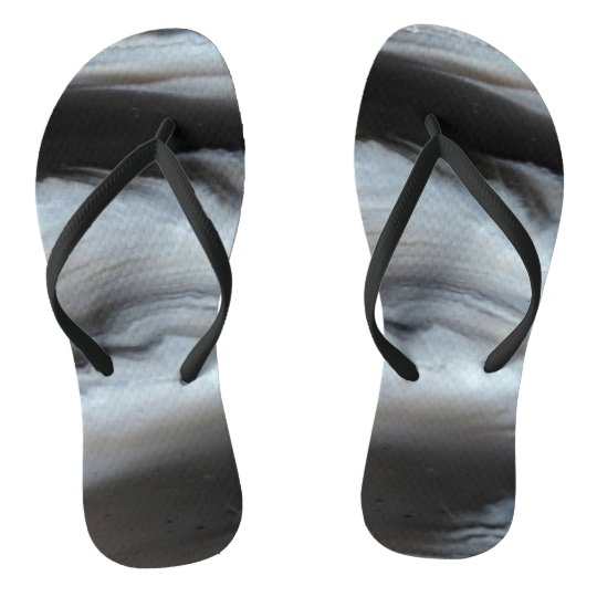 Feathered Black Agate cool natural stone Flip Flops