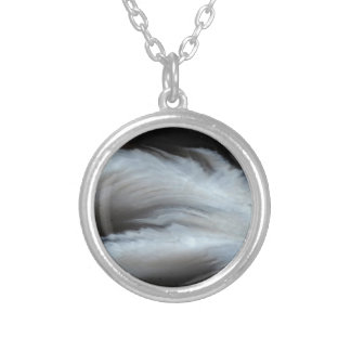 Feathered Black Agate cool natural stone Silver Plated Necklace