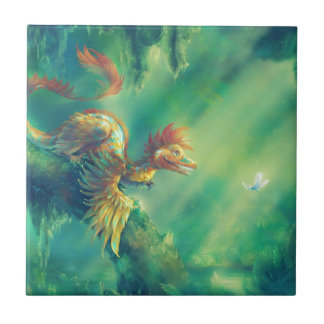Feathered Dinosaur Microraptor Small Square Tile