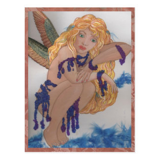 feathered faerie with beads postcard