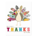 Feathered Friend Happy Thanksgiving Postcard