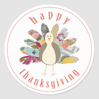 Feathered Friend Happy Thanksgiving Stickers