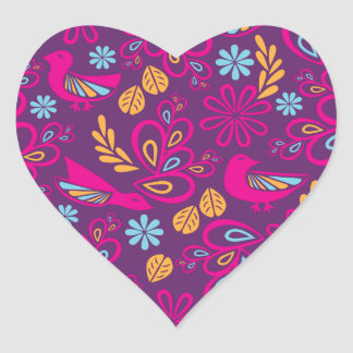 Feathered Friends Heart Sticker