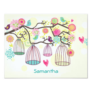 Feathered Friends Spring Flat Notecard 11 Cm X 14 Cm Invitation Card