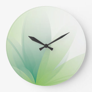 Feathered Green Floral Leaves Large Clock