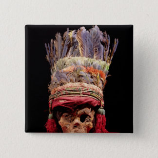 Feathered headdress on a skull, from Peru 15 Cm Square Badge