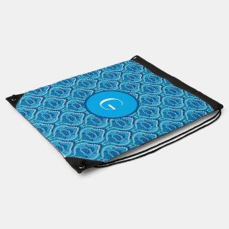 Feathered Paisley - Blueish Drawstring Bag