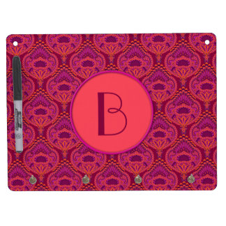 Feathered Paisley - Pinkoinko Dry Erase Board With Key Ring Holder