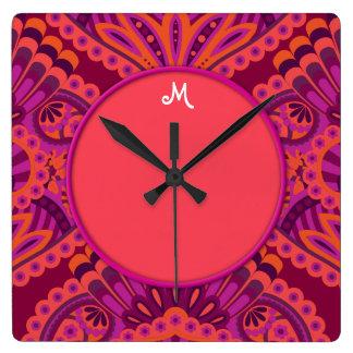 Feathered Paisley - Pinkoinko Wall Clocks