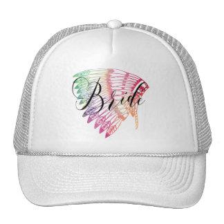 FEATHERED RAINBOW TRIBAL BRIDE CAP
