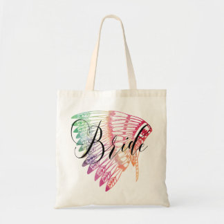 FEATHERED RAINBOW TRIBAL BRIDE TOTE BAG
