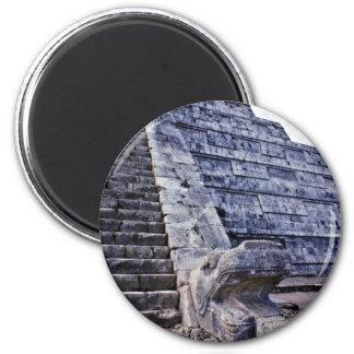Feathered Serpent On El Castillo 6 Cm Round Magnet