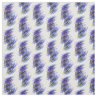 Feathers abstract design black & blues in pattern fabric