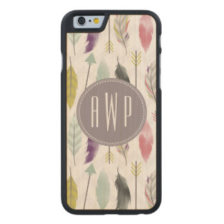 Feathers and Arrows Monogram Carved Maple iPhone 6 Case