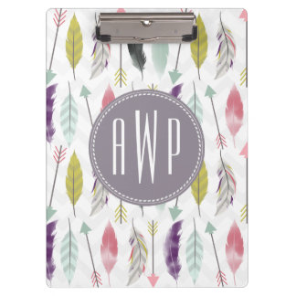 Feathers and Arrows Monogram Clipboard