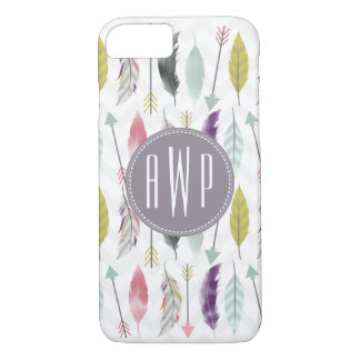 Feathers and Arrows Monogram iPhone 8/7 Case