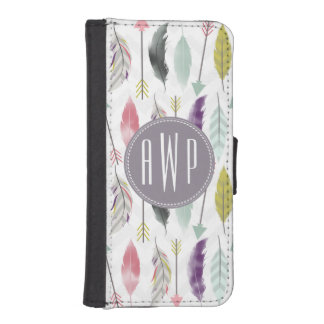 Feathers and Arrows Monogram iPhone SE/5/5s Wallet Case